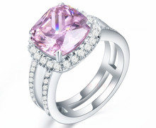 14K Solid White Gold Pink Cushion Ring Female 8*8 Simulate Diamond Pinky Jewelry Halo Pillow 3CT Engraved Women Jewelry AU585(China)