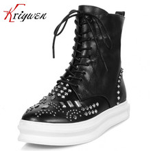 Plus size 35-40 2016 new fashion flats Punk style boots genuine leather ankle boots women fashion platform cotton lace up shoes