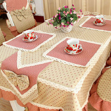 Fashion brief red plaid table runner placemat pillow cushion chair covers tablecloth table cloth tissue box set