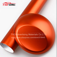 Metallic Chrome matt orange vinyl film chrome matte vinyl sticker with air bubbles by free shipping 10/20/30/40/50/60X152CM/LOT(China)