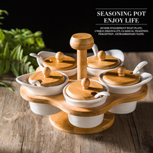 Creative ceramics seasoning cans sets the condiment box 5 pots with cover Condiments Containers with Bamboo Cover Tray