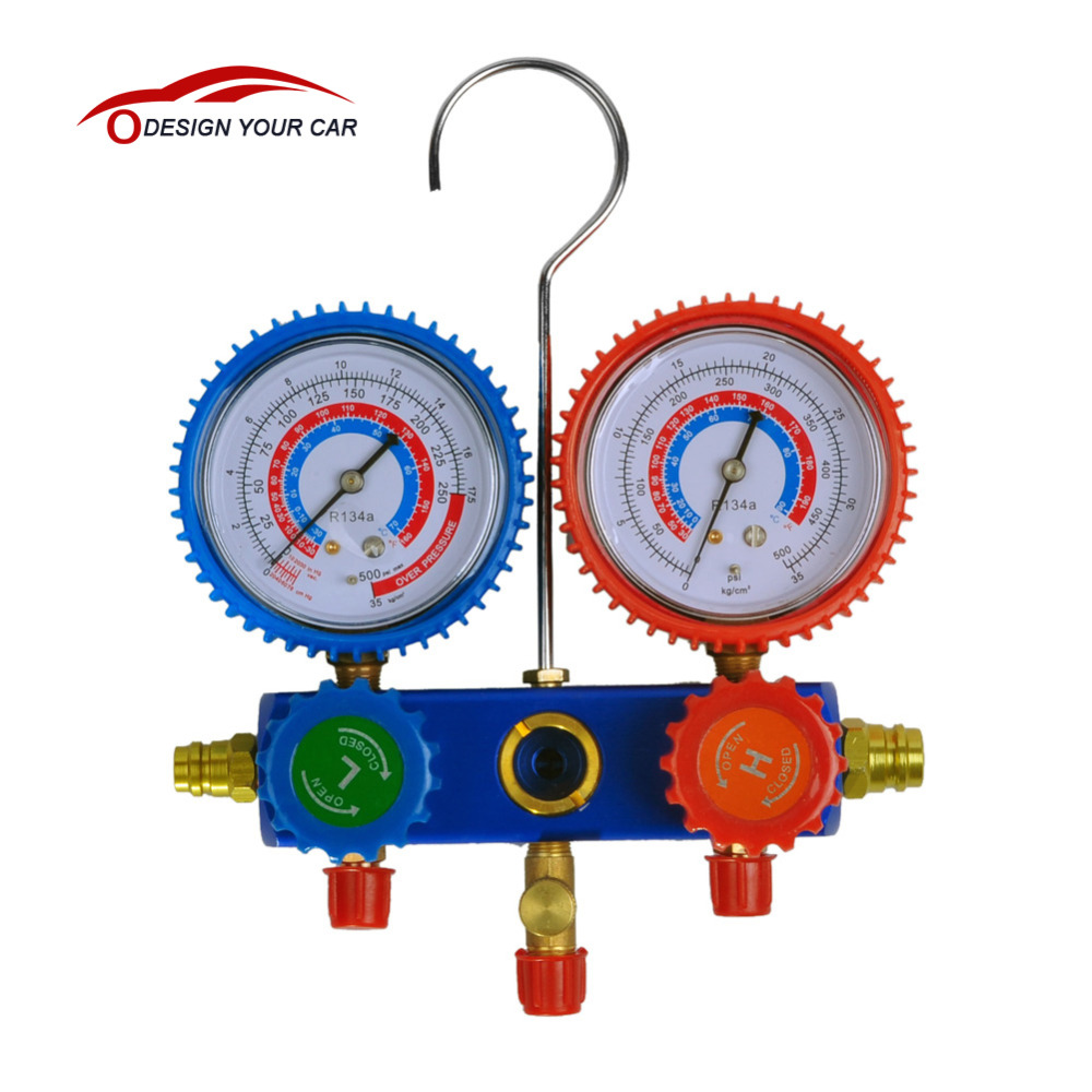 KKmoon C0002 R-134A A/C Manifold Gauge Set R-134a Auto Air Conditioner with Colored Hose Coupler Auto Pressure Tester(China (Mainland))