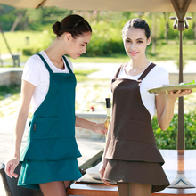 Fashion kitchen cooking apron for woman waiter Florist tea shop Manicure cute aprons customized uniform female(China)
