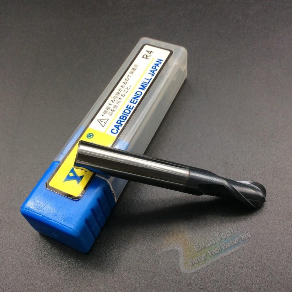g Radius 4mm 2-blade Carbide end mill straight shank router bit ball cutters tungsten carbide milling cutter for keyseat HRC 45<br><br>Aliexpress