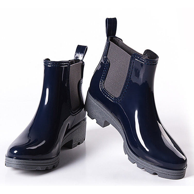 2018 Platform Rain Boots Ladies Rubber Ankle Boots Low Heels Women Boots Slip On Flats Shoes Woman Plus Size 36-40 R039W<br>