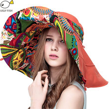 Sun Hats ! Hats Sun Hats For Women Summer Large Beach Hat Flower printed wide brim(China)