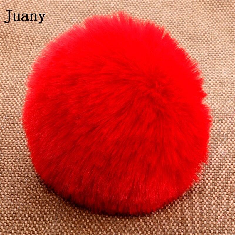 pompom key chain fluffy rabbit fur ball with bell key chain fake fur keychain women car bag key ring 11
