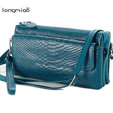 longmiao Brand Women Messenger Bag Soft Cowhide Snake Skin Crossbody Bag Ladies Multi-Pocket Genuine Leather Small Clutch Bag(China)