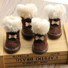 Thick Fur Pet Shoes Small Dogs Shoes Winter Warm Snow Boots For Teddy Poodle Coffee/Pink/Purple(China)