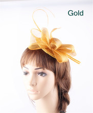 Gold teardrop bases sinamay top bow fascinators ostrich quill hats for women party church cocktail headwear headbands 17 Colors(China)