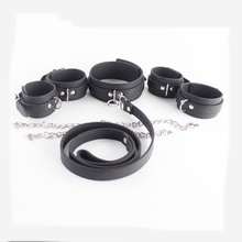 Buy Leashes neck collar hand ankle cuffs leather harness bondage kit slave collars handcuffs shackles bdsm fetish sex toys