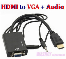 HDMI to VGA 3.5mm Audio Cable Converter Adapter Male to Female HDMI VGA Video adaptor HDTV CRT Monitor TV Convex head(China)