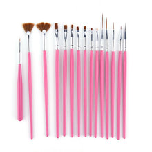 2016 New 15 Pcs Cosmetic Nail Art Polish Painting Draw Pen Brush Tips Tools Set UV Gel Hot Selling