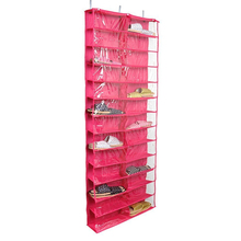 Clear PVC Shoes Rack Over-the-door 26-pocket Shoe Organizer Washable Oxford Shoe Rack Hanging Shoe Storage Bag