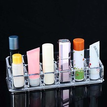Hoomall Brand 12 Lipstick Holder Display Stand Clear Acrylic Cosmetic Makeup Organizer Storage Box For Jewelry(China)