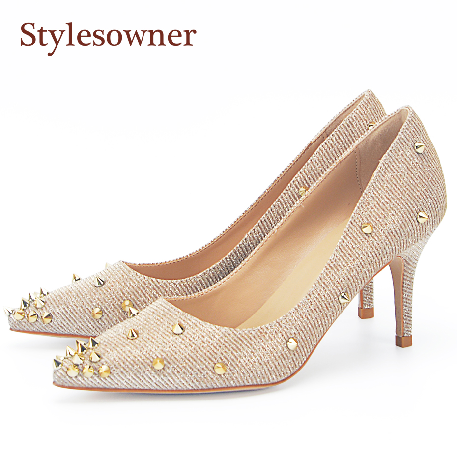 stylesowner Top Quality Gold Wedding Shoes Pointed Rivets Slip On Fashionable 2018 Spring Shoe High Heel Women Shoes Pumps<br>