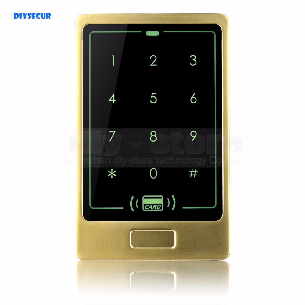 DIYSECUR RFID Card Reader Touch Panel Backlight Metal Case Password Keypad For Access Control System Kit<br>