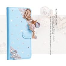 Rhinestone PU Leather Case For Blackberry PRIV Rubberized Hard Plastic Wallet Phone Cover(China)