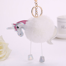 16 Color Cute Fluffy Unicorn Keychain Faux Rabbit Fur Ball Pom Pom Key Chains Bag Charms Trinket Pony Car Key Ring Accessories