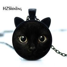 2017 painting black cat Necklace for pet lovers Cat Pendant with two ears Jewelry Glass Cabochon girl's Gift for her HZ2(China)