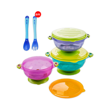 Baby Feeding Bowl Set Kids Healthy Bowl Tableware Infant Children Hockey Assist Food Bowl With Sealing Cover Pay One Get 3Pcs(China)