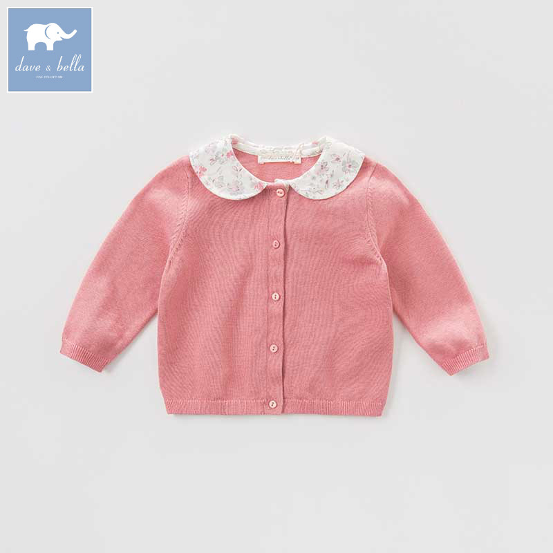 DB8702-1 dave bella autumn infant baby girls fashion cardigan kids toddler coat lovely children knitted sweater