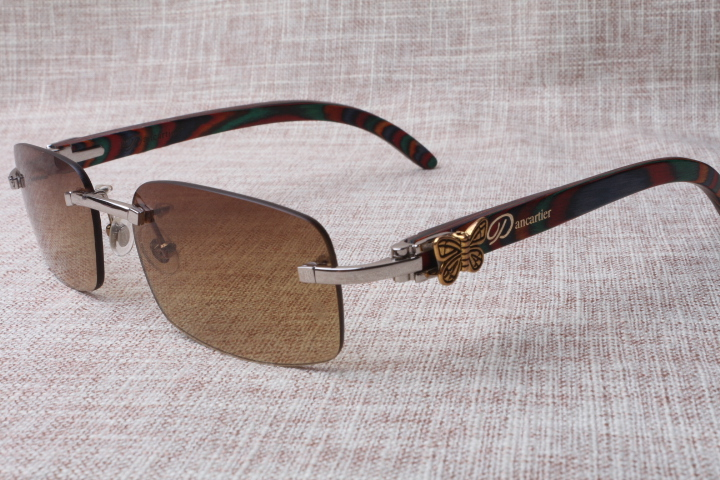 Wholesale 2017 new style square rimless fashion refined peacock wooden sunglasses 8200893(A), size:56-18-135mm<br><br>Aliexpress