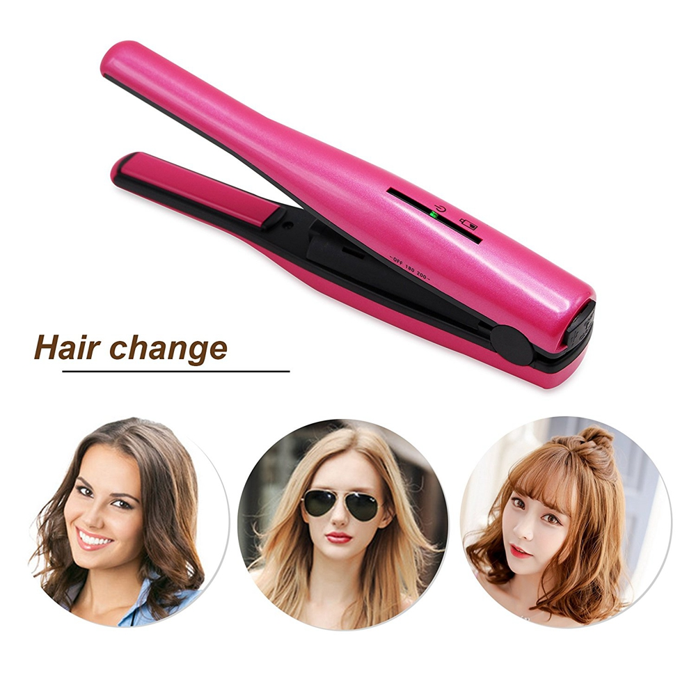 Professional Salon 2 in 1 Portable USB Charge Hair Iron Curler Mini Wireless Straightener Ceramic Travel Hair Curl Styling Tools<br>