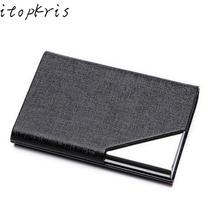 Itopkris Business ID Credit Card Holder For Women Men Fashion Brand Metal Aluminum Card Case PU Leather Rfid Wallet Porte Carte