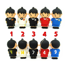 100% real capacity football man USB Flash drive 5 styles Pen Drive memory Stick  USB 2.0 disk 4gb/8gb/16gb/32gb sports gift