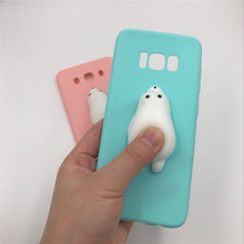 For iPhone 6 Case 6s 7plus Lovely 3D Cute Cat Sea Lion Silicon Squishys Phone Case For Samsung galaxy S8 S7edge J5 A7 2017 2016