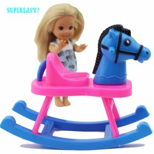 Fashion Mini Furniture Shaking Horses Toy Hobbyhorse Assembly Fit For 1:12 Barbie Doll Sister Kelly Doll Dollhouse Accessories