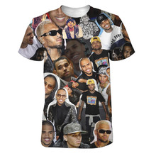 Real American size  chris brown collage  3D Sublimatin print  high quality T-shirt Custom Made Clothing plus size