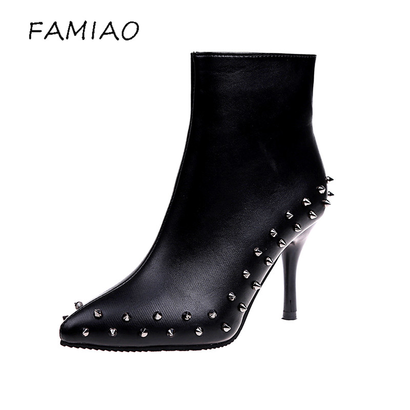 FAMIAO Sexy PU  Women Ankle Boots Formal Spring Autumn Rain Shoes 2017 rivet Woman Black  Super High Heels Party Ladies boats<br>