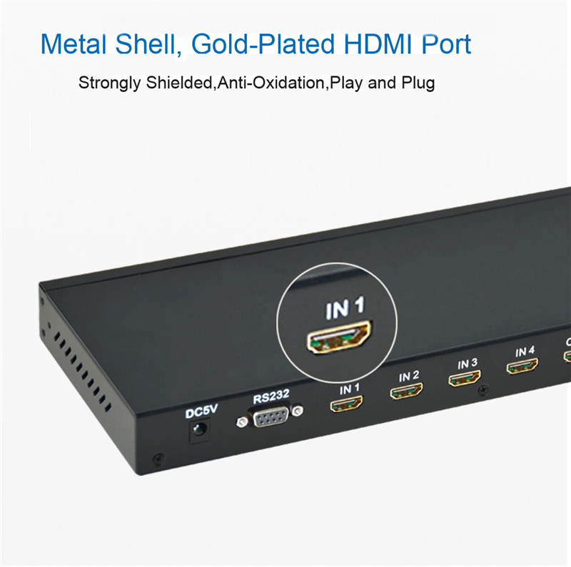 EMK 4x4 HDMI True Matrix 4 input 4 output HDMI Switch Splitter 1.3b support 1920x1080 60Hz with RS232 Remote Control Switch (12)