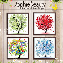 DIY Diamond Painting Cross Stitch Needlework Mosaic Diamond Embroidery The Four Seasons Flower Pattern Hobbies(China)