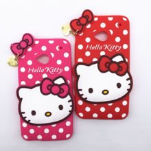 New 3D Cartoon Hello Kitty Case Soft Silicon Back Cover for HTC One M7 Rubber Phone Shell