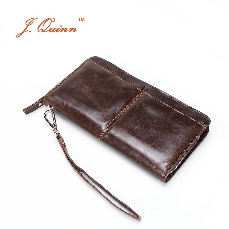 J.Quinn Men Handy Cow Leather Business Clutch Wallets with Removable Cards Holder Soft Mens Hand Bag Designer Large Long Wallet<br>