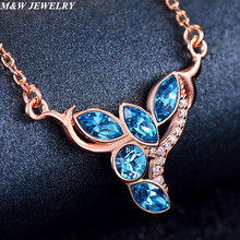 M&W JEWELRY Exquisite European Accessories Austrian Crystal Sterling Silver for Women Necklace S925 Sterling Silver Jewelery(China)