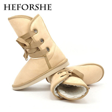 HEFORSHE Women Winter Boots 2017 Ladies Snow Boots Suede Mid-Calf Lace-Up Winter Fur Inside Warm Shoes Woman Size 35-40 WXX006
