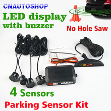 Car LED Parking Sensor Kit No Hole Saw Drill 4 Sensors 22mm Backlight Reverse Backup Monitor System 12V 8 Colors