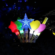 2017 Creative Love Heart Star Flashing Stick Pentagram Glowing Sticks LED Lighting Kids Toys Birthday Glow Party Supplies