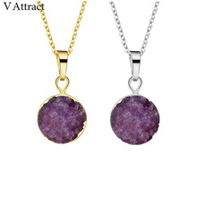 V Attract 10PCS Violet Color Stone Pendant Stainless Steel Link Chain Collier Femme 2018 Wedding Birde Jewellery(China)