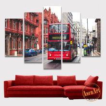 5 Panel Wall Canvas Art London Street Bus Painting Printed on Canvas Modern European Building Wall Picture Home Decor No Frame