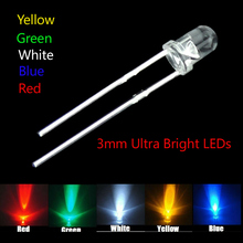 5 colors x100=500pcs 3mm New Round water clear Red/ Green/Blue/Yellow/White Water Clear LED Light Lamp combination packaging kit