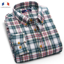 Langmeng 100% cotton Hot sale Autumn winter thermal warm shirt mens long sleeve flannel casual shirts plaid cotton dress shirt