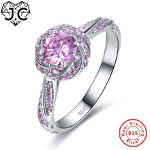 J.C 2 Colors Beauty Flower Style Sapphire & Pink White Topaz 925 Sterling Silver Ring Size 6 7 8 9 Women Engagement Fine Jewelry(China)