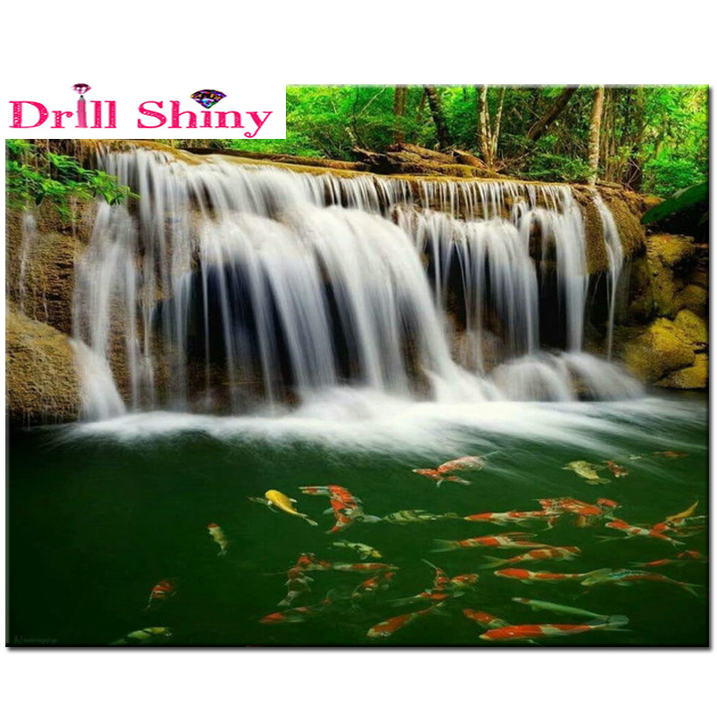 Crafts diamond embroidery landscape diy 5D diamond painting cross stitch crystal waterfall fish stickers square diamond puzzle(China (Mainland))