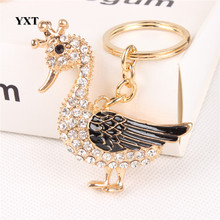 Duck Drake Goose Crown Cute Crystal Charm Pendant Purse Handbag Car Key Keyring Keychain Party Creative Lovely Gift(China)