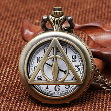 Hot Movie Related Product Theme Bronze Hollow Triangle Fob Quartz Pocket Watch With Necklace Chain Gift to Children